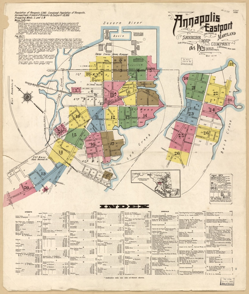 Sanborn Fire Insurance Map From Annapolis, Anne Arundel County - Printable Map Of Annapolis Md