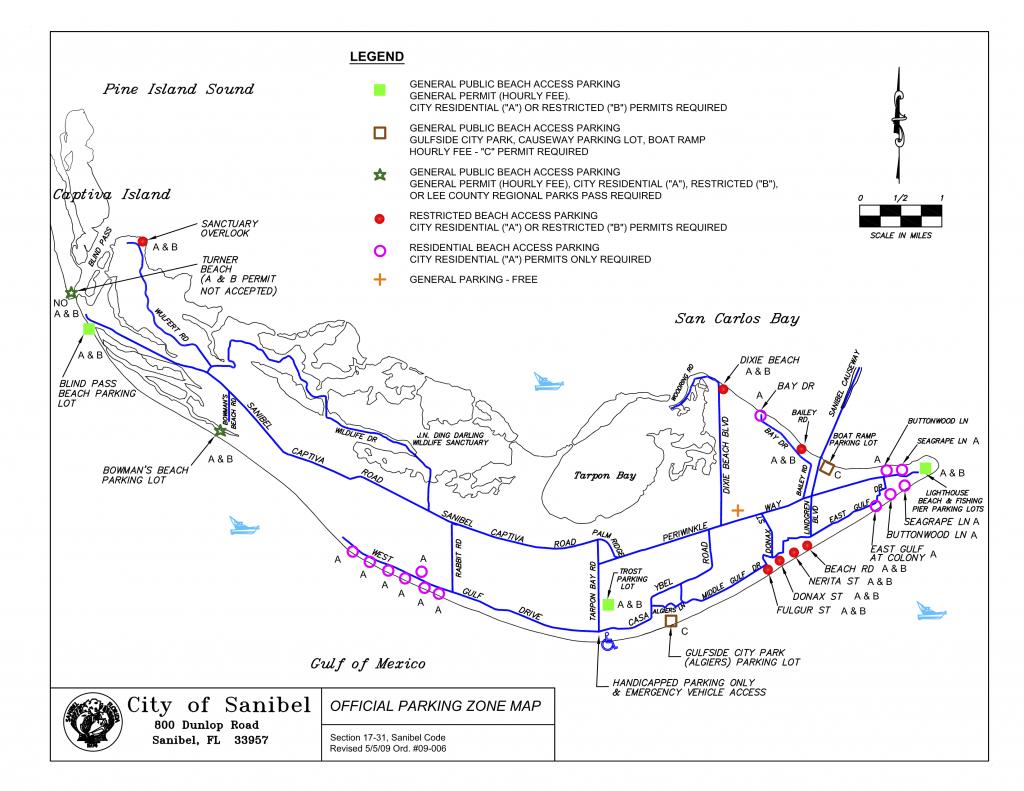 Sanibel Captiva Beach Parking Map | Restrooms | Beach Access | I - Sanibel Beach Florida Map