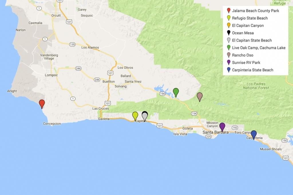 Santa Barbara Camping - California Rv Campgrounds Map