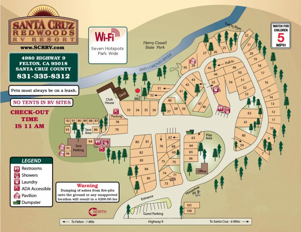 Santa Cruz Redwoods Rv Resort & Rv Park Map - Rv Parks California Map