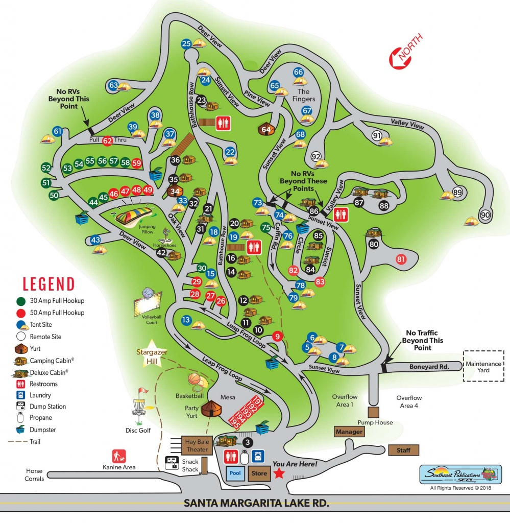 Santa Margarita, California Extended Stay Sites   Santa Margarita Koa - California Camping Sites Map