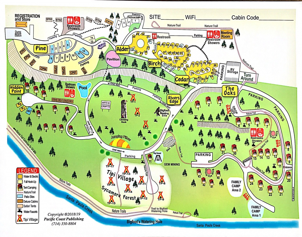 Santa Paula, California Tent Camping Sites | Ventura Ranch Koa - California Tent Camping Map