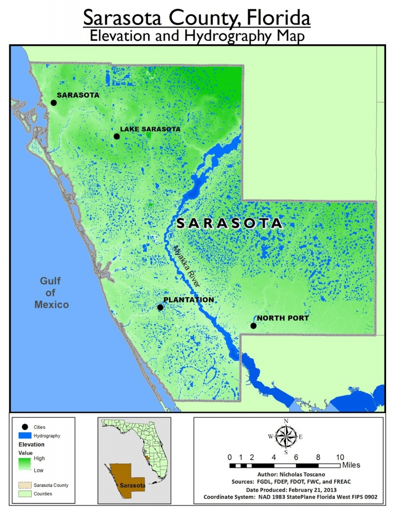 Sarasota County   Speaklounge - Sarasota County Florida Elevation Map