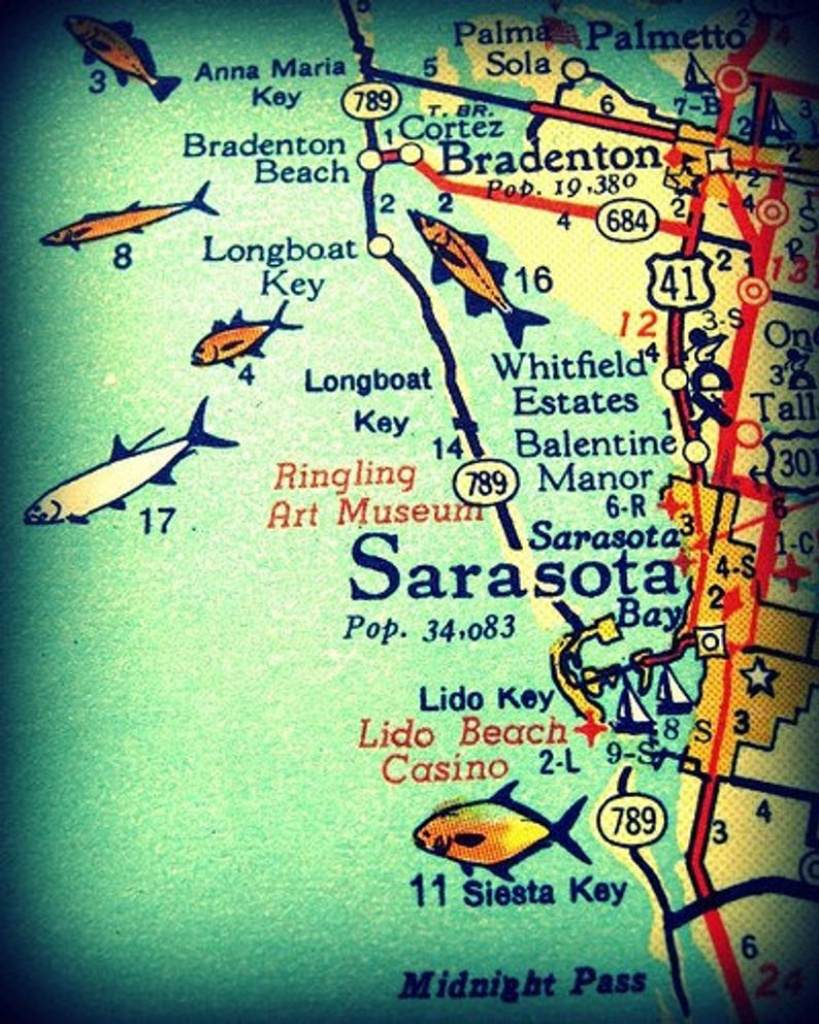 Sarasota Siesta Key Florida 11X14 Vintage Map Photograph Beach | Etsy - Siesta Key Florida Map