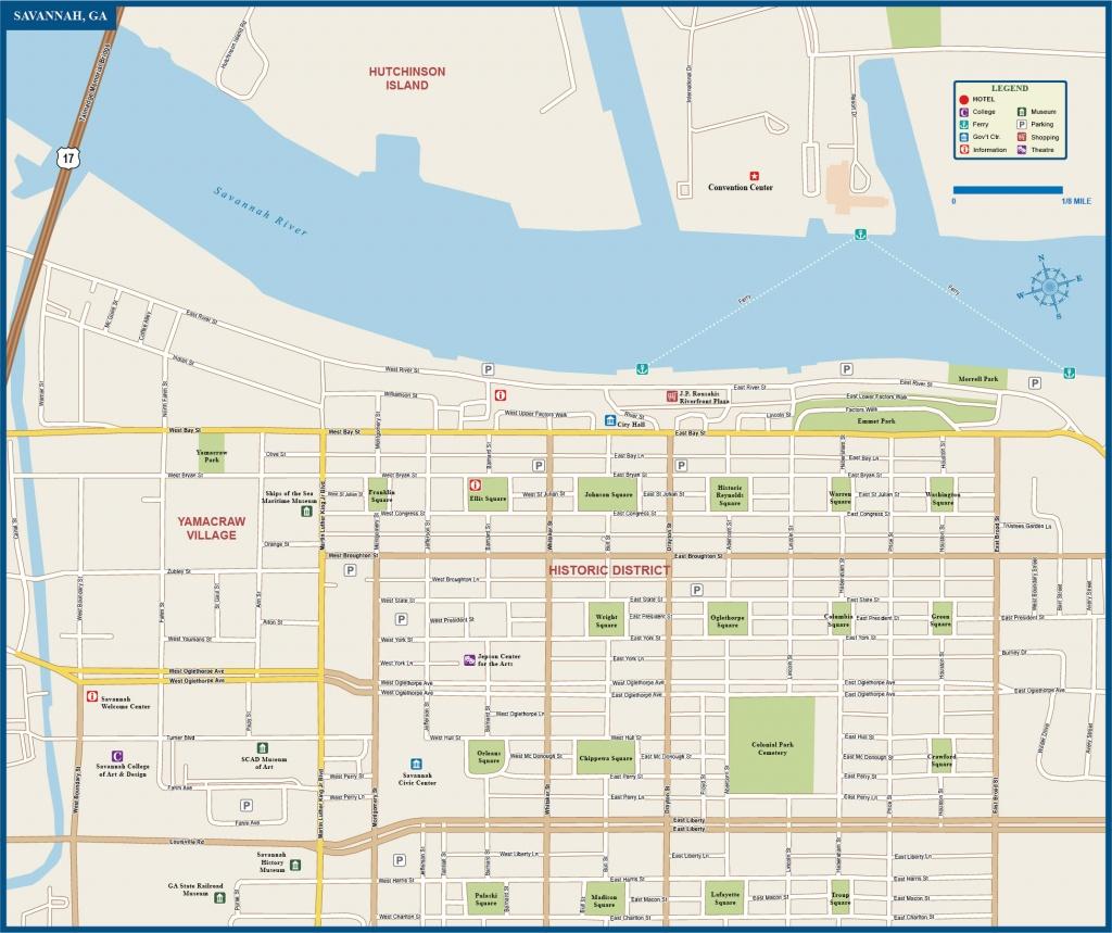 Savannah Downtown Map | Digital Vector | Creative Force - Printable Map Of Savannah