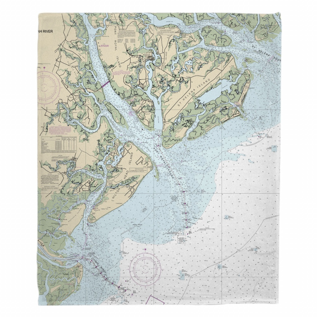 Sc: Hilton Head Island, Sc Nautical Chart Blanket - Hilton Head Florida Map