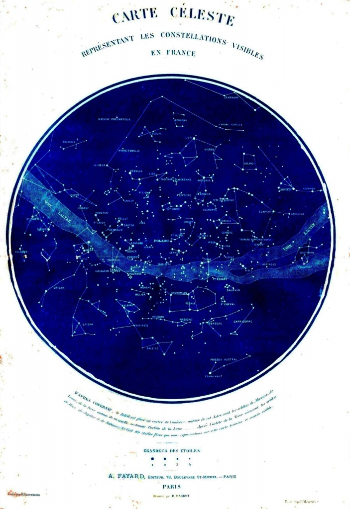 Science - Astronomy - Map - Celestial Map Of Constellations Visible - Free Printable Star Maps