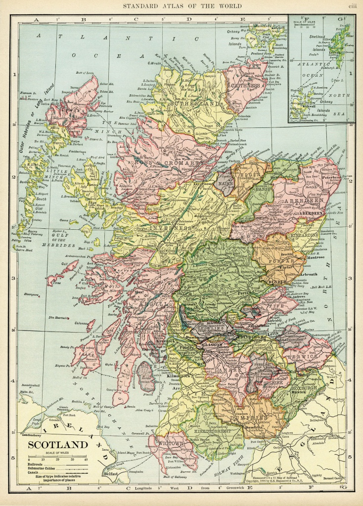 Scotland Map, Vintage Map Download, Antique Map, C. S. Hammond - Printable Map Skye