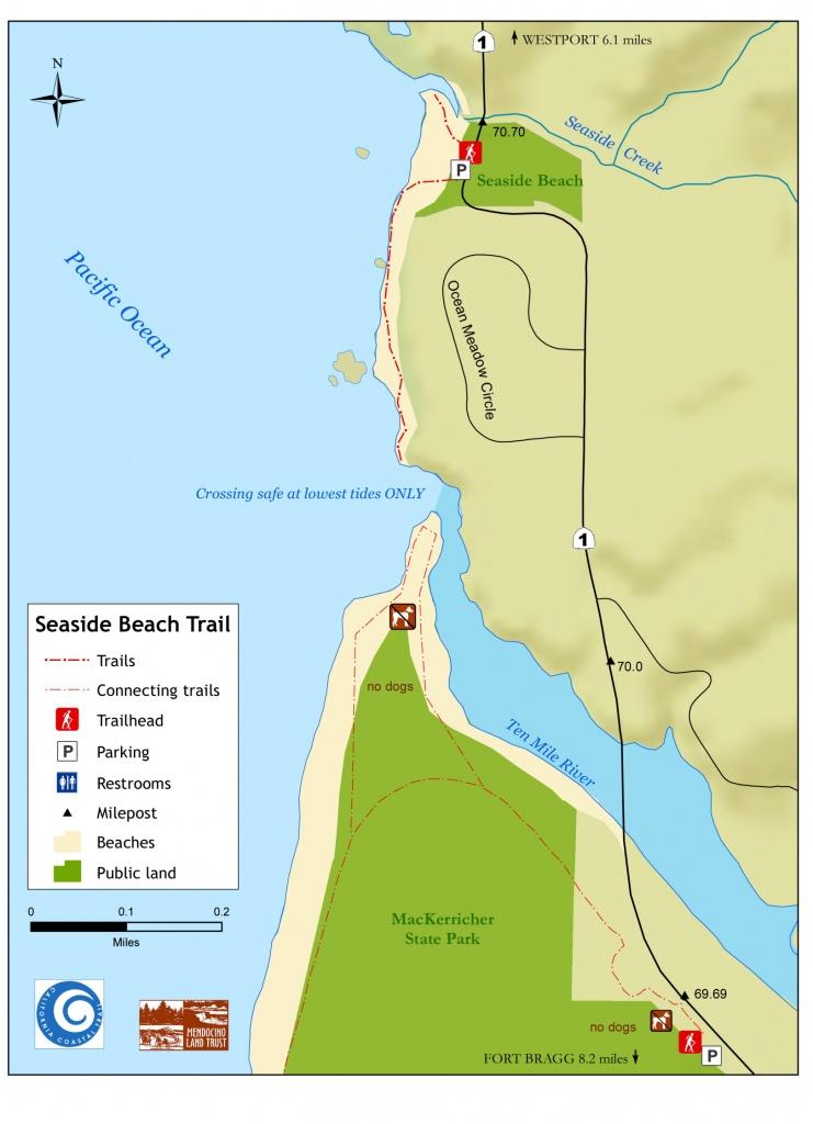 Seaside Beach - Northern Coastal Trails - Mendocino Land Trust, 2019 - Seaside California Map