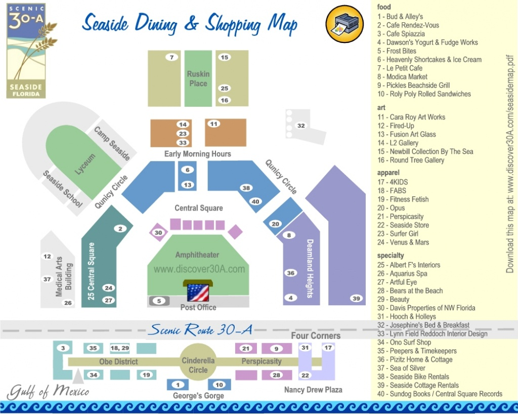 Seaside Dining And Shopping Map | Discover 30A Florida - Where Is Seaside Florida On Map