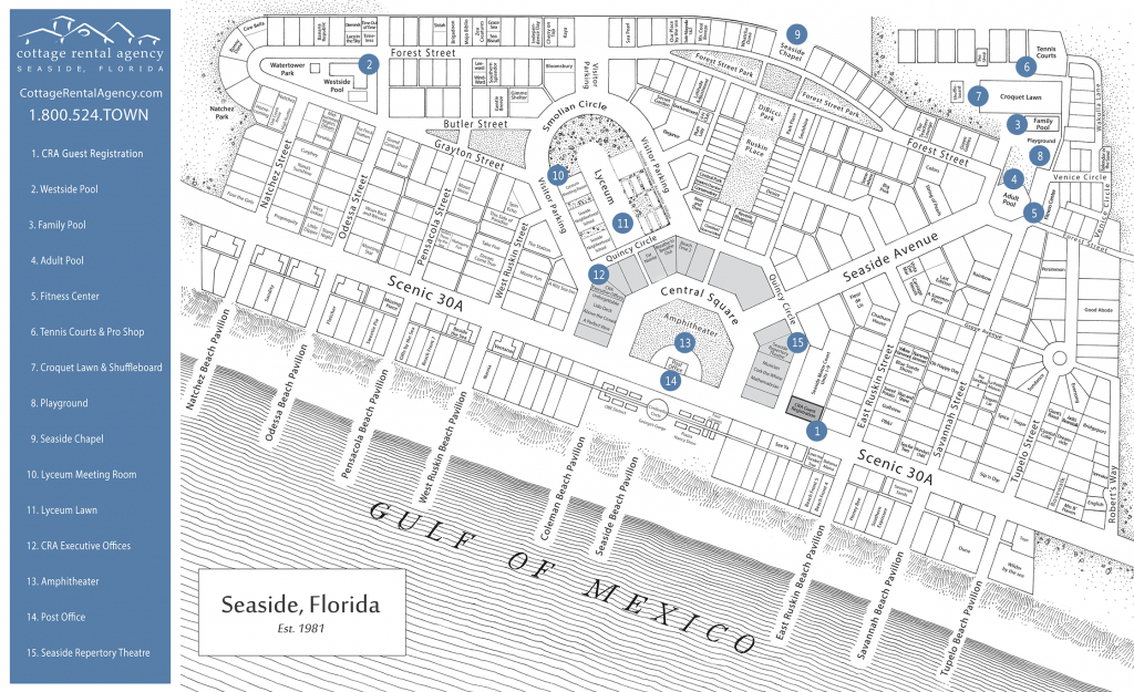 Seaside Florida Map - Click Properties On Map To View Details | Maps - Map Of Watercolor And Seaside Florida