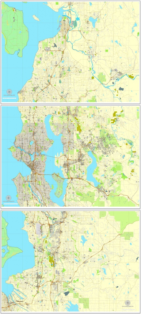 Seattle Pdf Map State Washington, Us Printable Vector City Plan 3 - Printable Map Of Seattle