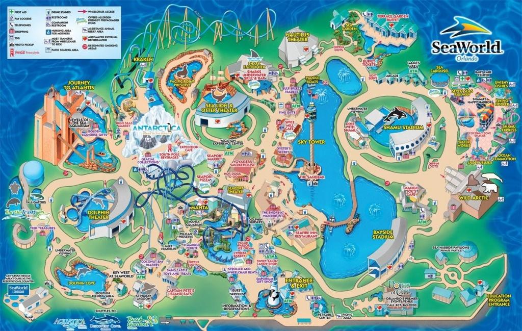 Seaworld Orlando | Carte | Orlando Map, Orlando Theme Parks Et - Sea World Florida Map