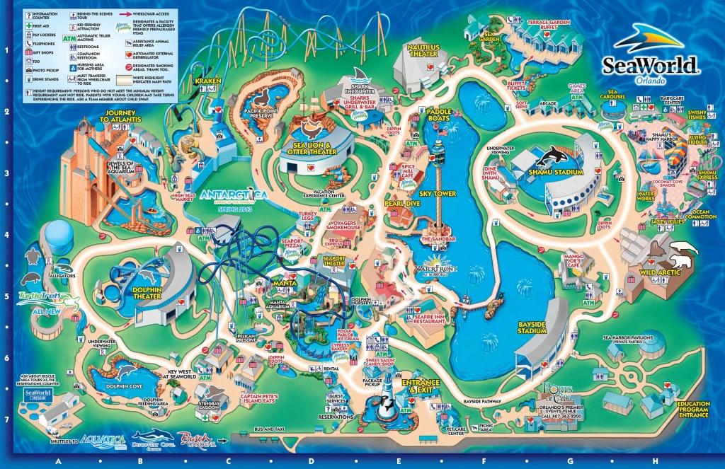 Seaworld Orlando Theme Park Map - Orlando Fl • Mappery | Aquariums - Seaworld Orlando Map Printable