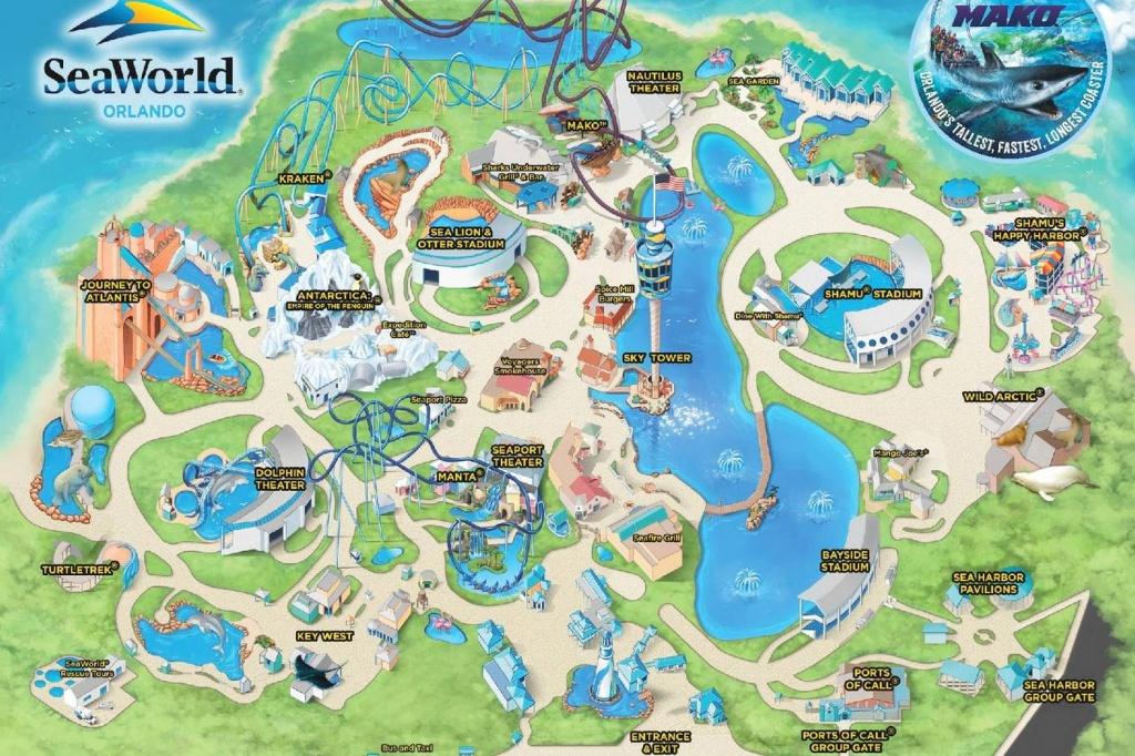 Seaworld, Orlando - Themed, Water Amusement Park - Florida Sea World Map