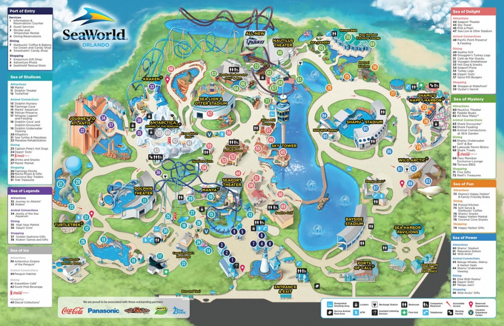 Seaworld - Park Information And Guide Map For Seaworld Orlando - Seaworld Orlando Map 2017 Printable
