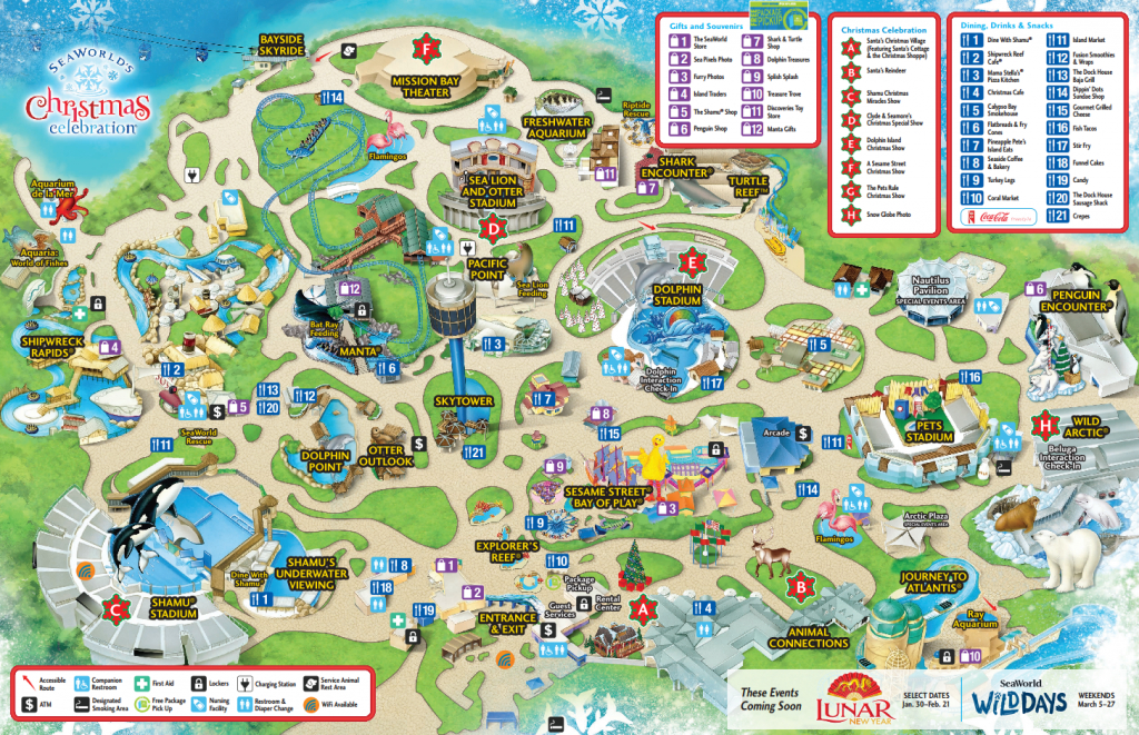 Seaworld San Diego Guide | Beaux Endroits - Amérique Du Nord - Seaworld San Diego Printable Map