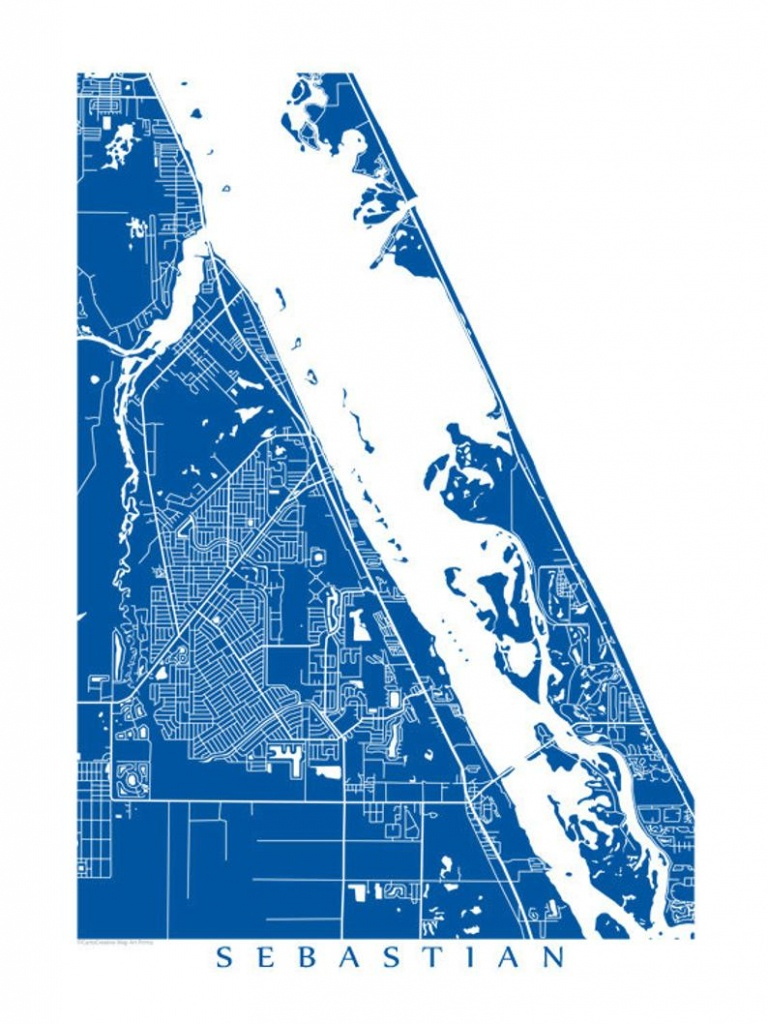Sebastian Florida Map Art Poster Print Customize Your Map   Etsy - Sebastian Florida Map