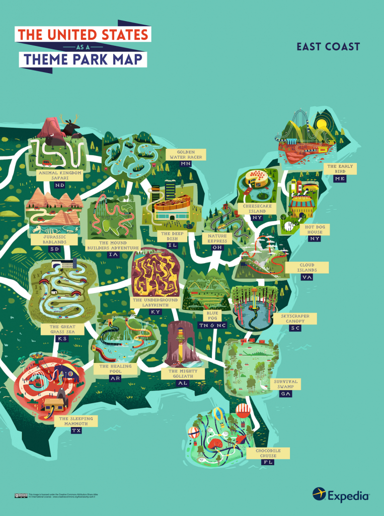 See The Usa As An Outdoor Theme Park With This Colourful Map - Map Of Theme Parks In Florida