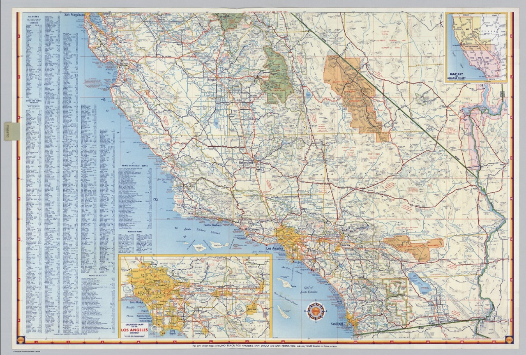 Shell Highway Map Of California (Southern Portion). - David Rumsey - Detailed Map Of Southern California
