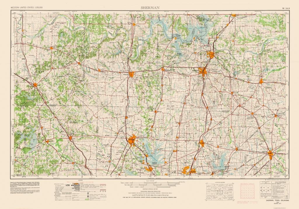 Sherman Texas Quad - Usgs 1954 - 32.80 X 23 - Walmart - Sherman Texas Map