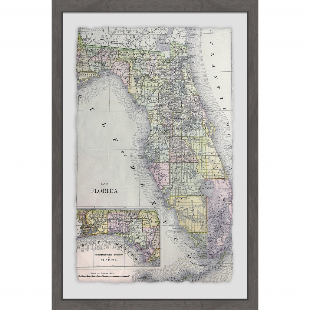 Shop 'florida Map' Framed Painting Print - On Sale - Free Shipping - Framed Map Of Florida
