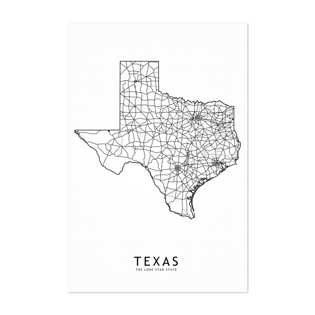 Shop Noir Gallery Texas Black & White State Map Unframed Art Print - Map Of Texas Art