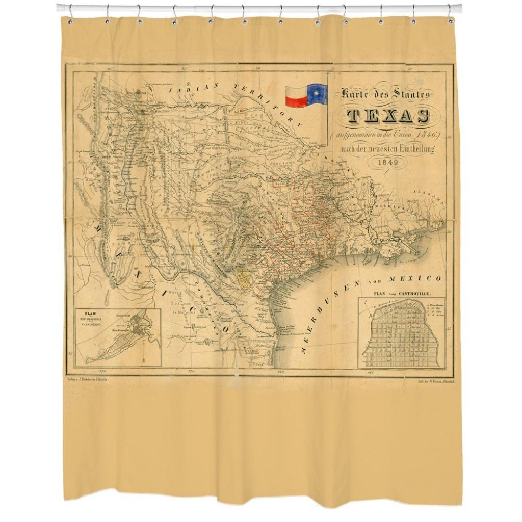 Shop Texas 1849 Map Shower Curtain - Beige - Free Shipping Today - Texas Map Shower Curtain