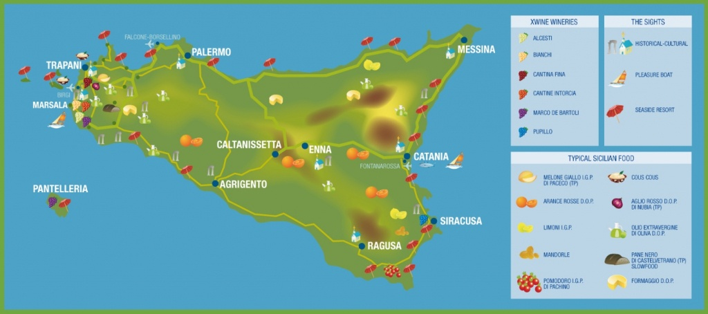 Sicily Travel Map - Printable Map Of Sicily