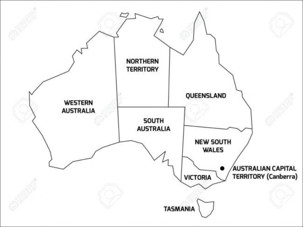 Simplified Map Of Australia Divided Into States And Territories For - Printable Map Of Australia With States