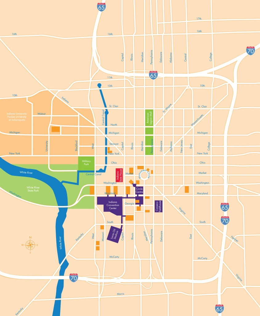 Simplified Map Of Downtown Indianapolis. It's So Easy To Get Around - Downtown Indianapolis Map Printable