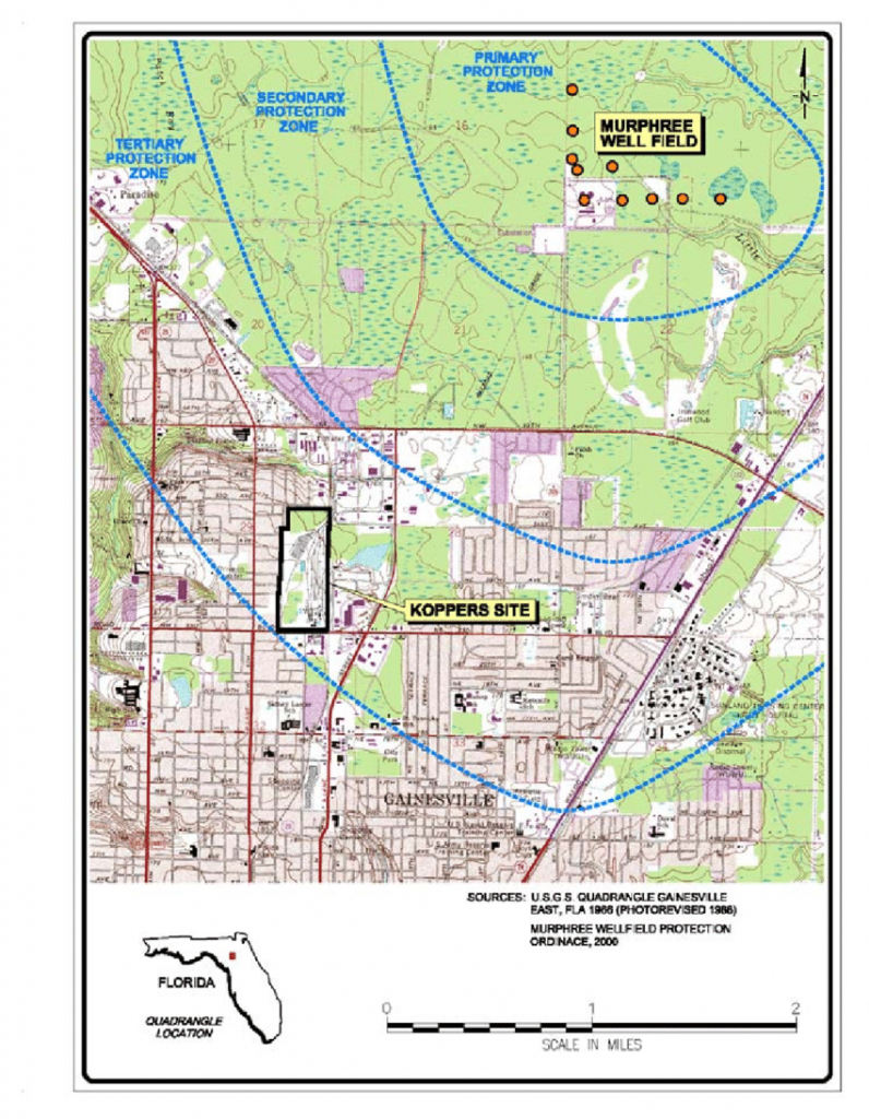 Site Location Map, Koppers Portion Of The Cabot/koppers Superfund - Map Of Gainesville Florida Area