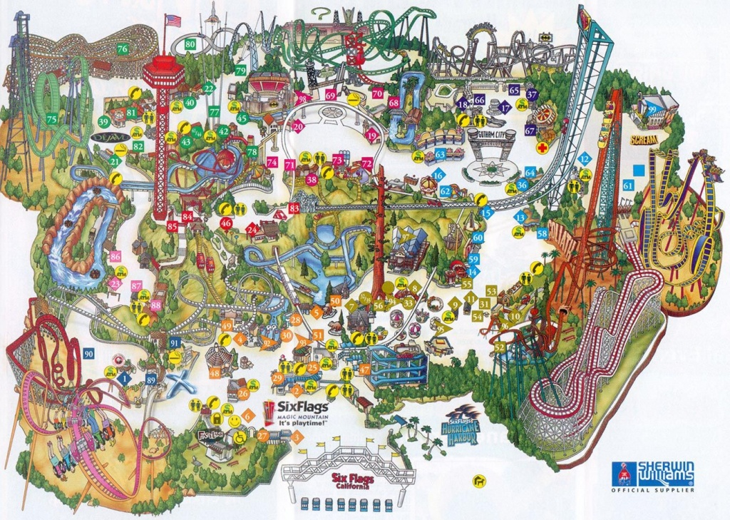 Six Flags Magic Mountain Map. | Assorted Ii In 2019 | Theme Park Map - Six Flags Map California 2018