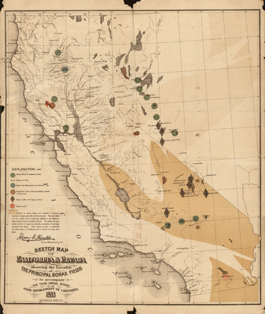 Sketch Map Of California & Nevas Showing The Locality Of The - Show Map Of California
