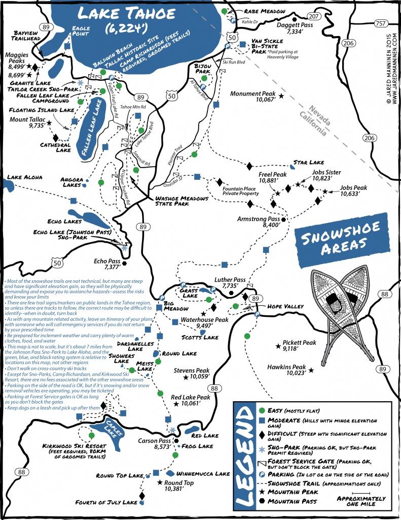 Snowshoeing In Lake Tahoe | Lake Tahoe Snowshoeing | Tahoe Snowshoe - South Lake Tahoe California Map