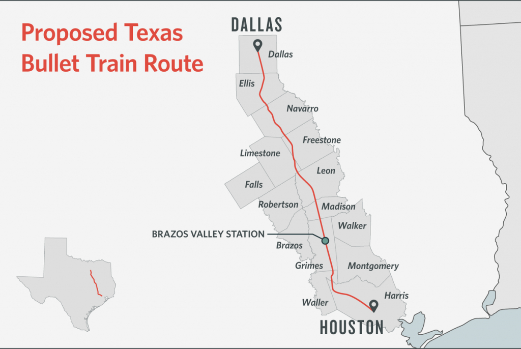Some Texans Dodge Bullet Train, Others Are Square In Its Path | The - Texas Bullet Train Route Map
