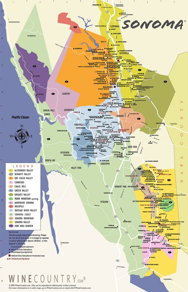Sonoma County Wine Country Maps - Sonoma - Printable Napa Winery Map