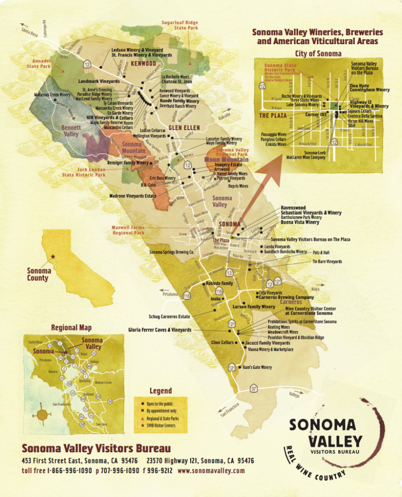 Sonoma Valley Wine Map - Best In Sonoma - Map Of Sonoma California Area