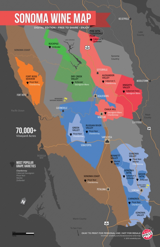 Sonoma Wine Map (Poster) | Wine Folly - Map Of Northern California Wine Regions