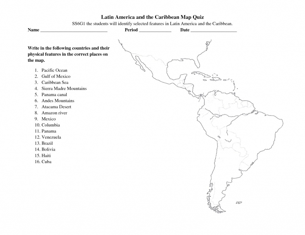 South America Free Maps Blank Outline And Central Map Quiz Zarzosa - Central America Map Quiz Printable