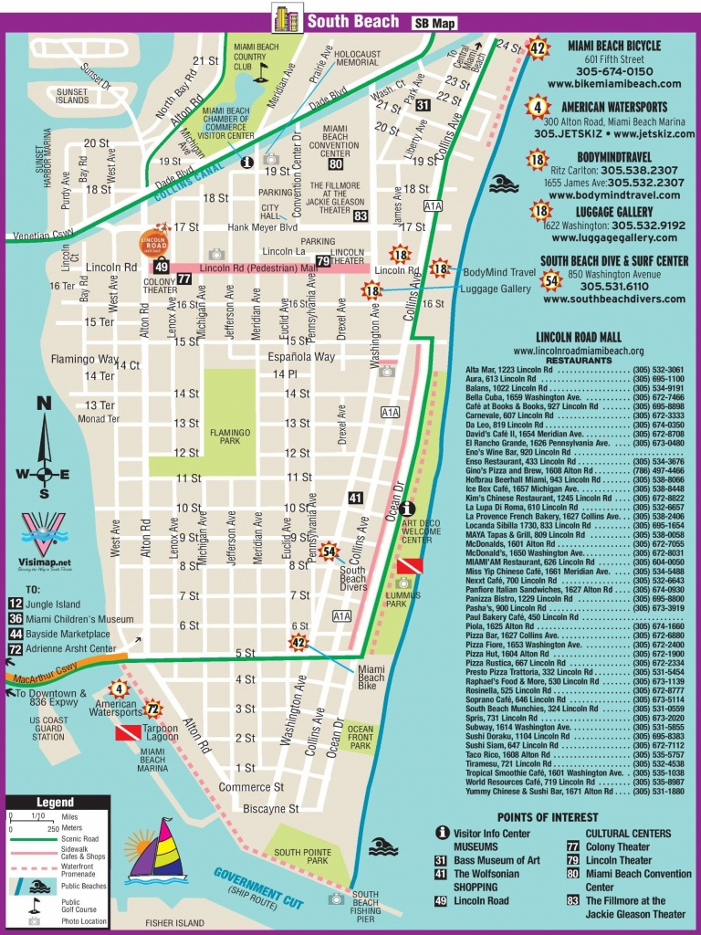 South Beach Restaurant And Sightseeing Map | Miami | South Beach - Map Of Florida Gulf Coast Hotels