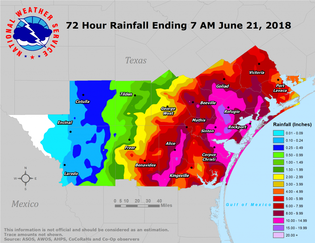 South Texas Heavy Rain And Flooding Event: June 18-21, 2018 - West Texas Weather Map