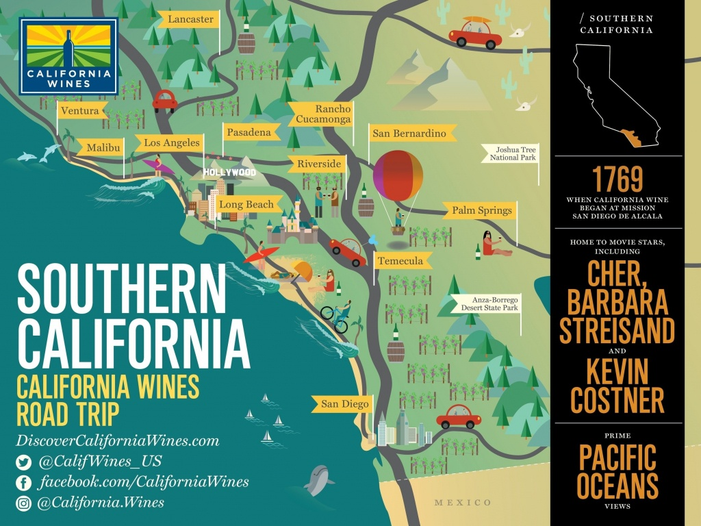 Southern California Map With Attractions – Map Of Usa District - Southern California Attractions Map