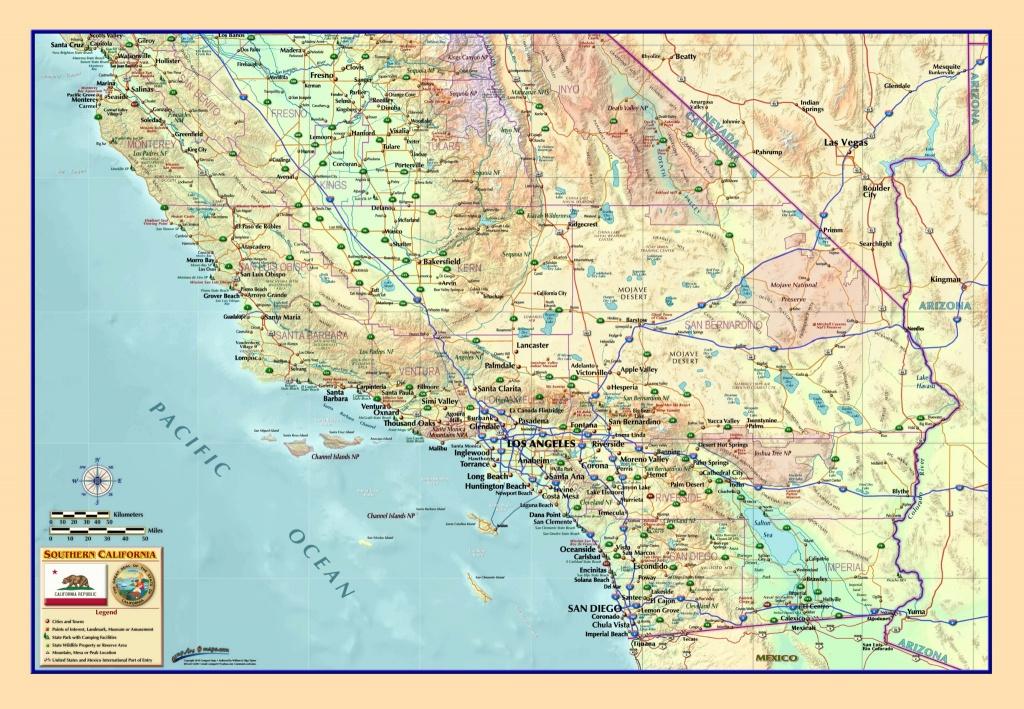 Southern California Wall Map - The Map Shop - Laminated California Wall Map