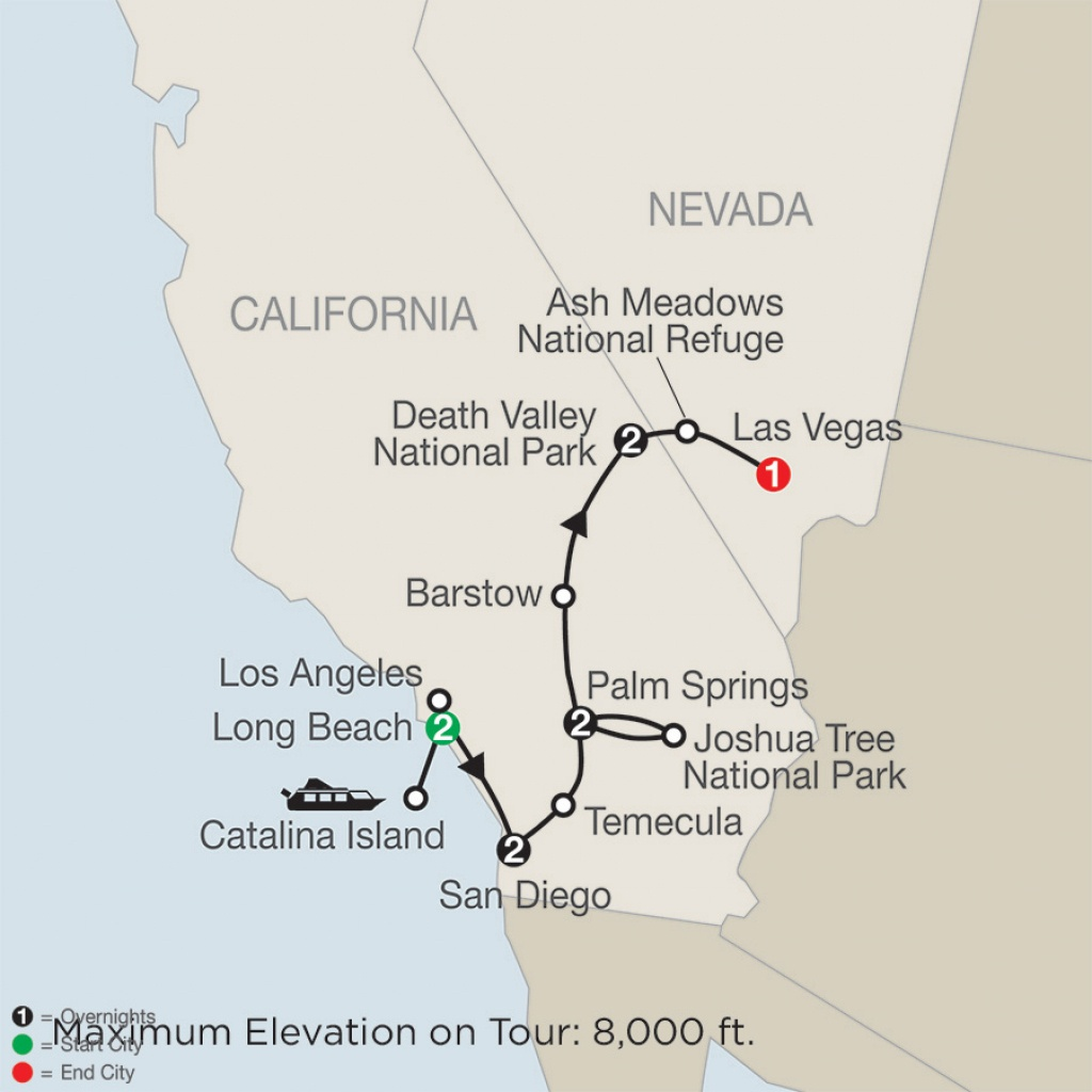 Southern California With Death Valley & Joshua Tree National Parks - Southern California National Parks Map