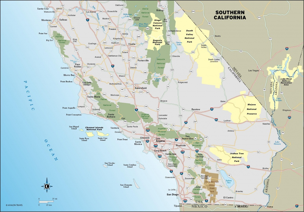 Southern California's Main Road, The Interstate 5 And Route 58 - Map Of Southern California Coastline