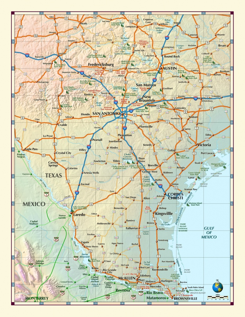 Southern Texas Wall Map - Maps - Map Of South Texas