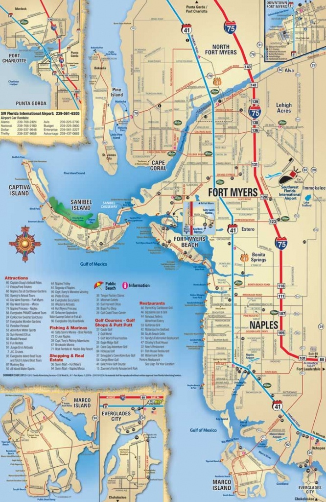 Southwest Florida Map, Attractions And Things To Do, Coupons - Map Of Florida Including Cape Coral