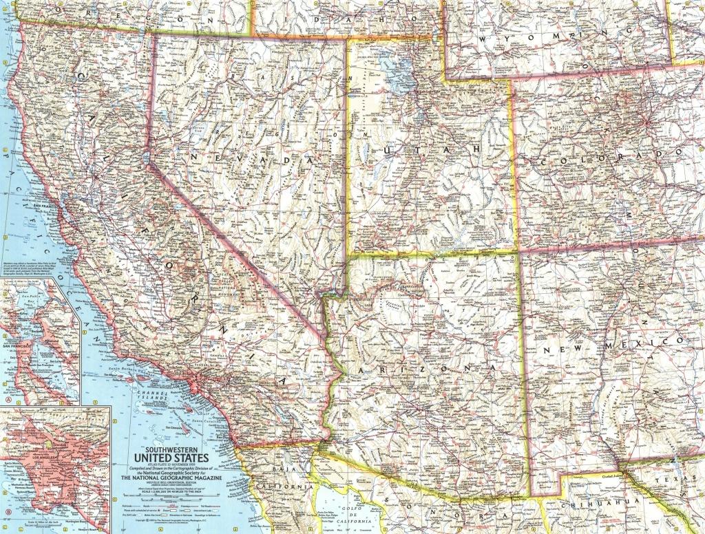 Southwestern United States Map 1959 - Maps - National Geographic Maps California