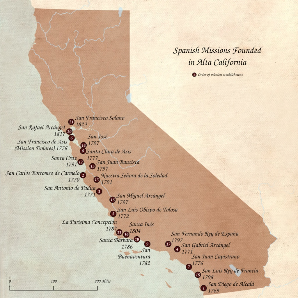 Spanish Missions In California – Legends Of America - California Missions Map For Kids